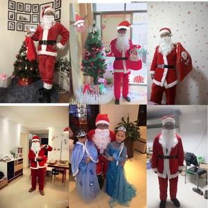 Image 5 - למבוגרים סנטה קלאוס תלבושות חליפת קטיפה אב מפואר בגדי חג המולד קוספליי אבזרי גברים מעיל מכנסיים זקן חגורת כובע חג המולד סט