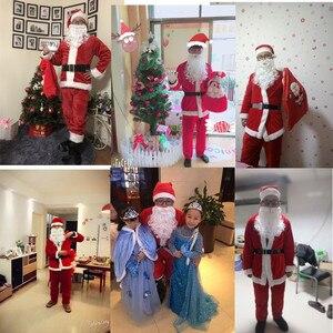 Image 5 - Adult Santa Claus Costume Suit Plush Father Fancy Clothes Xmas Cosplay Props Men Coat Pants Beard Belt Hat Christmas Set