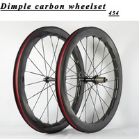700C carbon Road 454 wave bike wheels 25mm width dimple glossy chinese Carbon fiber bicycle racing wheelset can customized