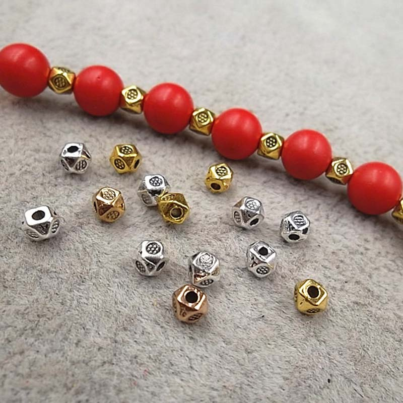 100pcs/lot Antique Silver/Gold Craved Small Spacer Beads 3.5mm Bracelet Necklace Metal Charms For DIY Beading Jewelry Making
