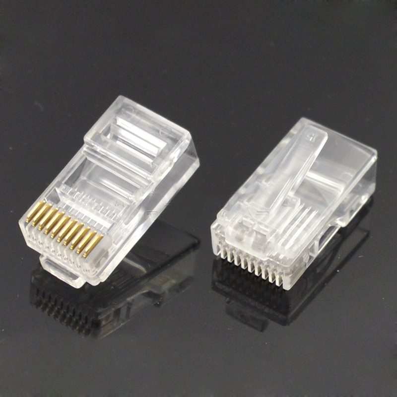 50pcs <font><b>10P10C</b></font> Cable Connector Crystal Head Non-shielded 10-pin Copper Chip Trim Contact PC Material Gold-plated image
