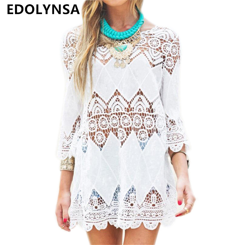 Sexy White Floral Lace Hollow Out Top 2019 Vintage Women Beach Dress Long  Sleeve Casual Boho 70eb5b316335