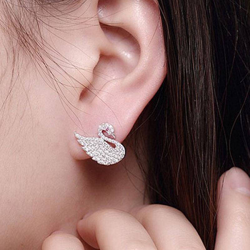 2017 Fashion Swan Design Inlaid Zircon 925 Sterling Silver Earrings Compatible Original Party Preferred Earrings Girl Gift2017 Fashion Swan Design Inlaid Zircon 925 Sterling Silver Earrings Compatible Original Party Preferred Earrings Girl Gift
