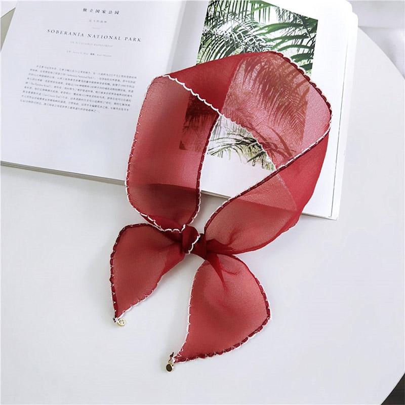 New Summer Fashion Women Chic Elegant Small Scarves Sheer Silk Retro Organza Neckerchief Hair Tie Ribbon For Female Headband in Women 39 s Scarves from Apparel Accessories