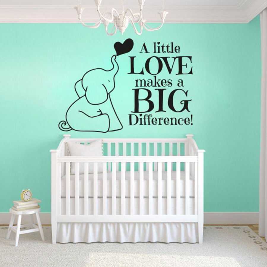 Little Elephant Wall Decals A Little Love Makes A Big Difference Kids Bedroom Quotes Home Decor Vinyl Wall Sticker Lovely S317