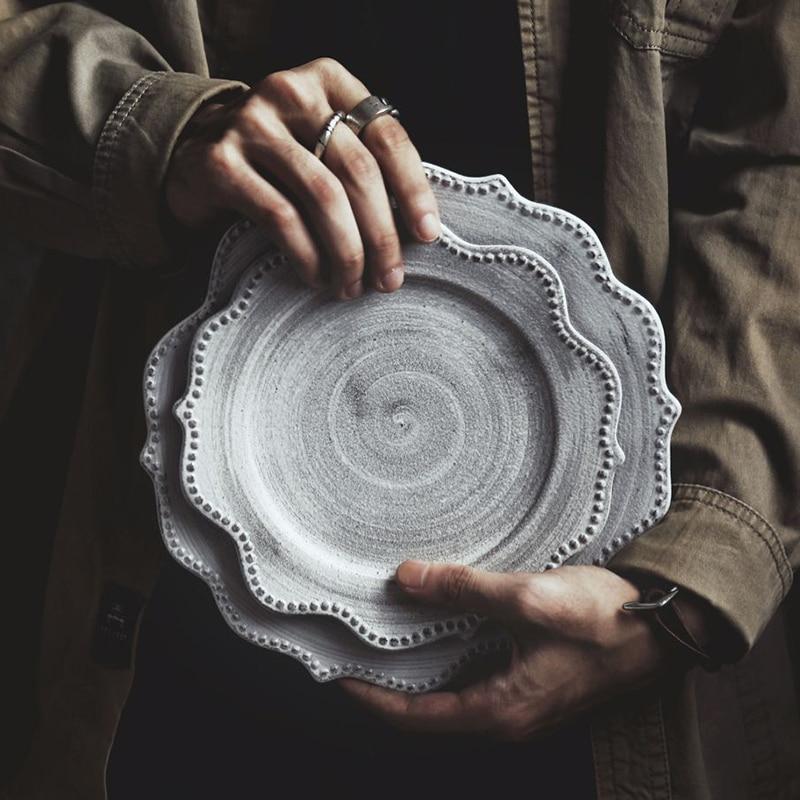 Japanese Ceramics Dishes Porcelain Plate Grey Vintage Steak Plate Kitchen Dishes Breakfast Dessert Tray