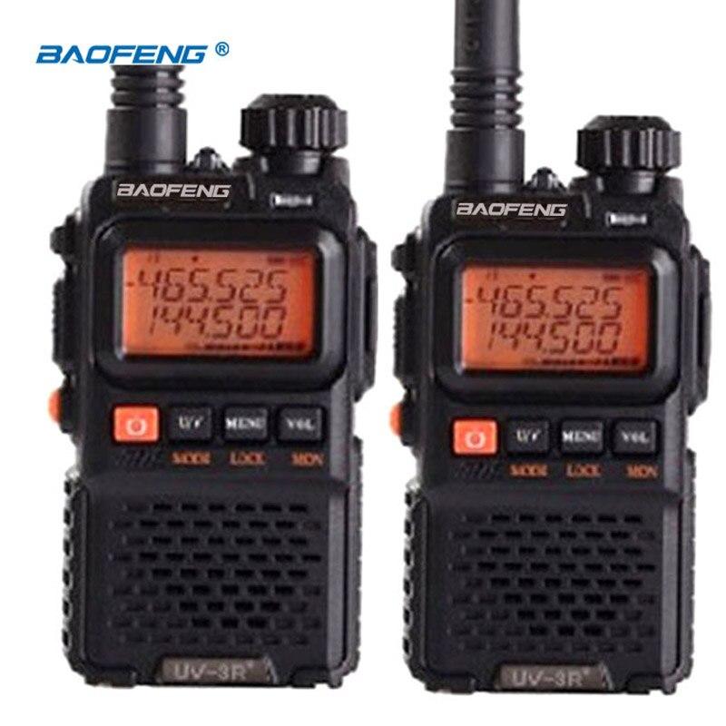 2 PCS BaoFeng Pofung UV-3R plus long-gamme sans fil Portable WalkieTalkie Double bande FM Professionnel émetteur-récepteur 2 voies radio