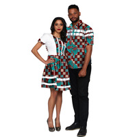 African Couple Outfit Women Dresses+Men Shirts Ankara Outfit for Couples Fashion Couple's Prom Outfits Africa Clothing Custom