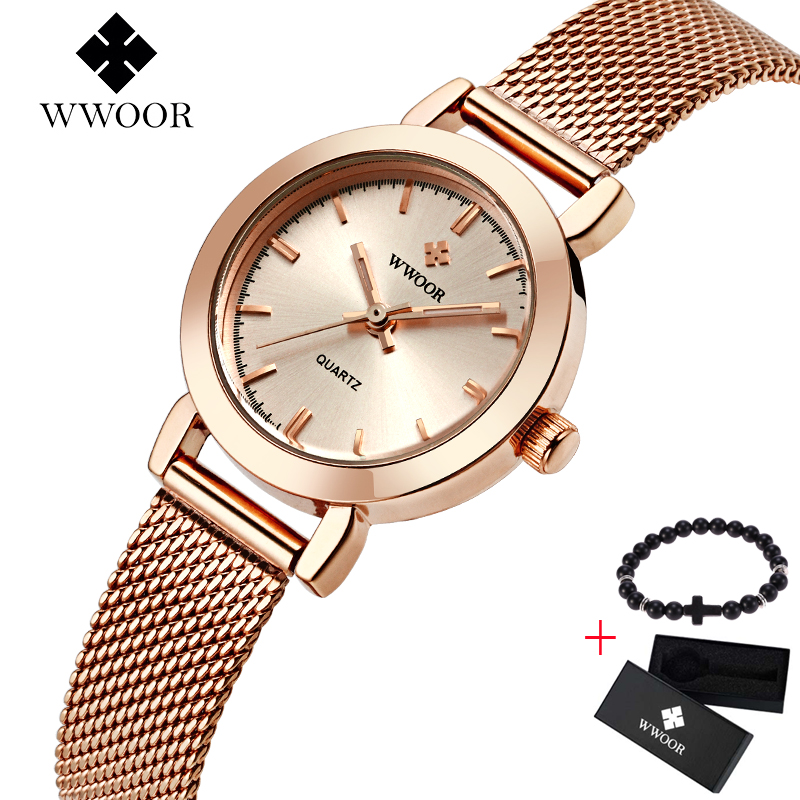 WWOOR Women Watches Luxury Brand Ladies Quartz Watch Stainless Steel Mesh Band Casual Free Bracelet Gift Box Wristwatch Reloj