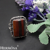 Retro Charms Christmas Gift 16x23mm Natural Crazy Lace Hematite 925 Sterling Silver Ring Size 9 Handmade