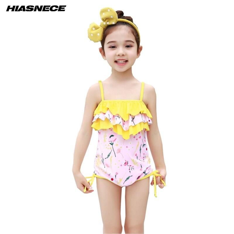 ≧Mädchen badeanzug blumenmuster sleeveless gelb falbala bademode ...