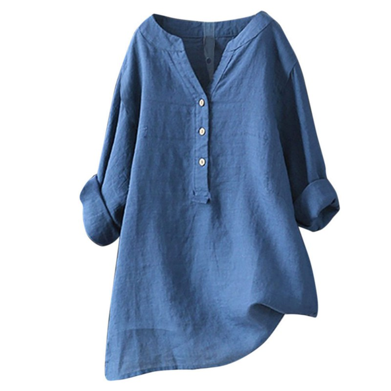 Cotton Linen Women Loose   Blouse     Shirts   Women's Summer Long Sleeve V Neck Tops and   Blouses   Casual Ladies Solid Color   Shirt   Blusas