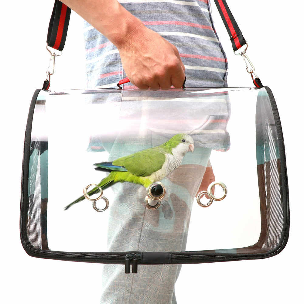Hot Lightweight Bird Carrier Cage Transparent Clear PVC Breathable Parrots Travel Bag FQ-ing