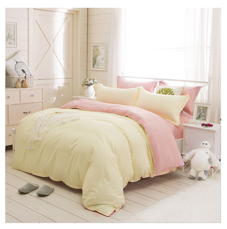 Slowdream Pale Yellow And Pink Solid Bedding Set Comforter Duvet Cover Active Printing Set Bed Linen Home Textiles Multi Sizes Bedding Sets Aliexpress