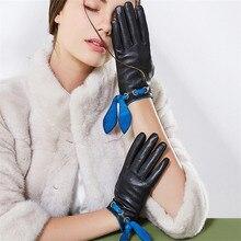 Genuine Leather Gloves Female Autumn Winter Warm Driving Plus Velvet Thicken Touchscreen Sheepskin Woman PT350138