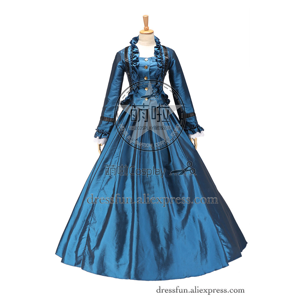 Fabulous Civil War Vintage Victorian Gown Period Reenactment Frilling Prom Dress With Classical Gold Button And Glossy Surface