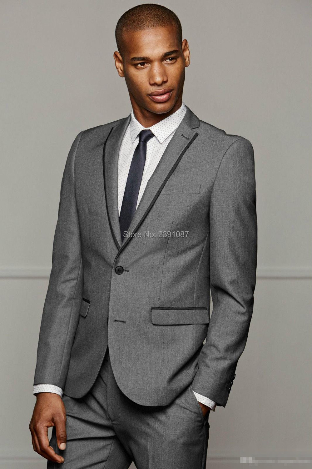 Hot Grey Wedding Tuxedos For Men Grooms Business Party Suits ...