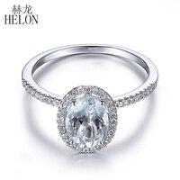 HELON Solid 14 К белое золото овал 8x6 мм Аквамарин кольцо Обручение Свадебные природные бриллианты кольцо для Для женщин подарок Свадебные украше