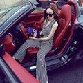 [CHICEVER] 2017 Spring Sleeveless Casual V neck Striped Lace Up Vest Wide Leg Pants Women Jumpsuits New Fashion