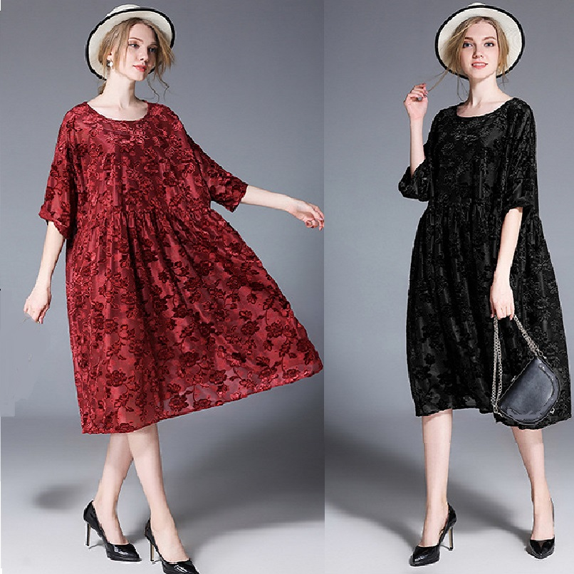 2018 Spring Women Plus Size Loose Fit velvet jacquard long Dress Set Elegant half sleeves dress