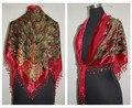 Мода красный женская треугольник бархат шелк бисера вышивает шарфа шали шарфы обруча павлин бесплатная доставка WS005-C