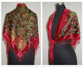 Fashion Red Women's Triangle Velvet Silk Beaded Embroider Shawl Scarf Wrap Scarves Peafowl Free Shipping WS005-C