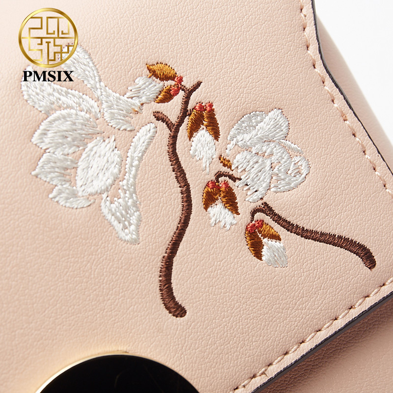 Pmsix Famous Brand fashion Embroidery flowers Split Leather Messenger bags for women High quality Wide shoulder straps Femal bag