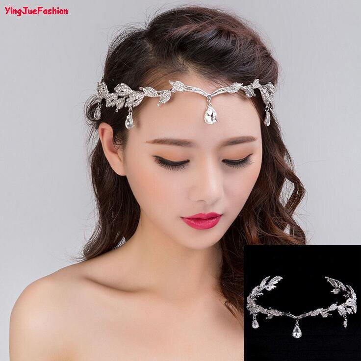 YingJueFashion Boda Nupcial Cristalino Shinning Del Pelo Frente Tiaras  Crown Headwear Accesorios para el Cabello Diadema