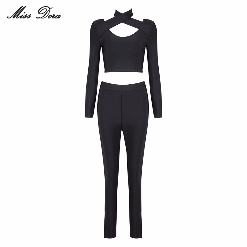 2016 Winter New Black halter Long Sleeve Cut Out Sexy Bandage Pants Suits Sets Hollow Out celebrity Runway Crop tops & Leggings