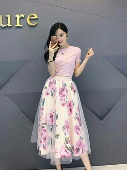 HIGH QUALITY Women Irregular T Shirt+Mesh Skirts Suits Bowknot Solid Tops Vintage Floral Skirt Sets Elegant Woman Two Piece Set 3