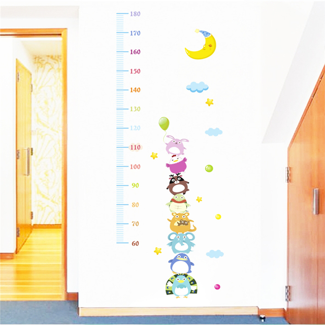 Cartoon Animals Moon Growth Chart Wall Stickers For Kids Rooms