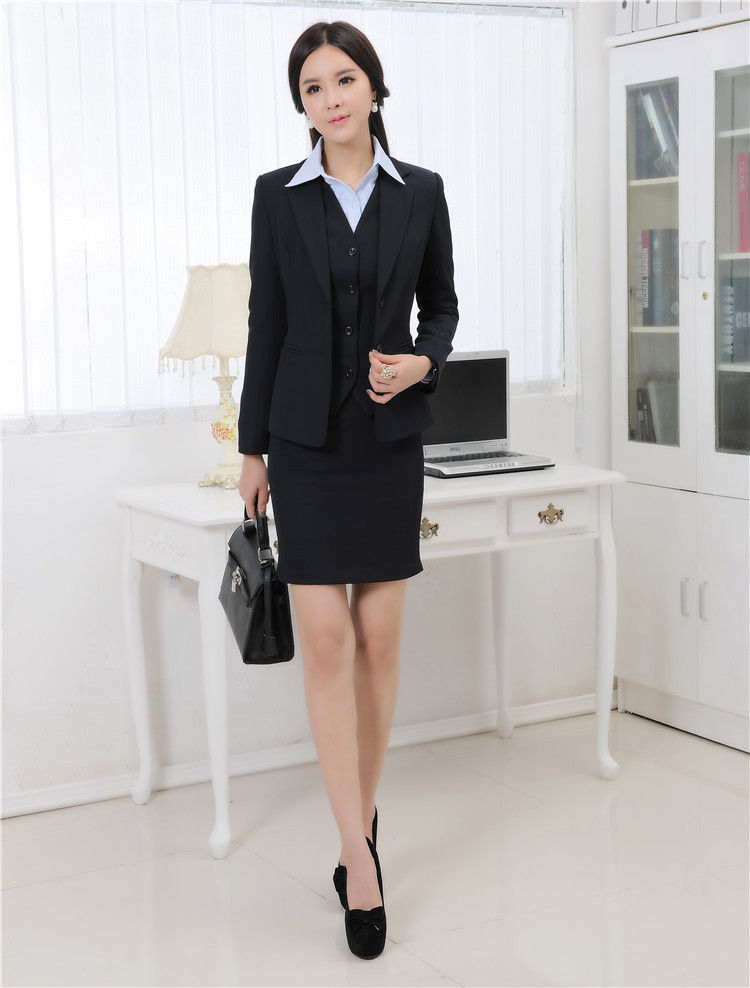 Autumn and Winter Formal Blazer Women Business Suits with Skirt Jacket Waistcoat Sets Ladies Office Uniforms