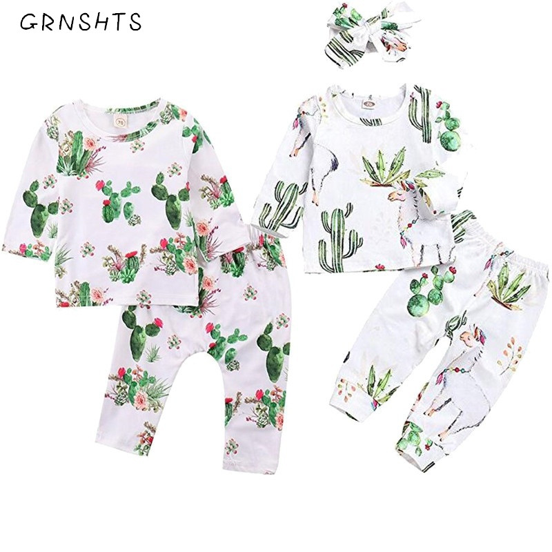 2018 Infant Toddler Baby Girl Boy Cactus Clothes Long Sleeve Llama Print T Shirt Tops+Pants Outfits Girls Boys Clothing 2pcs Set цена