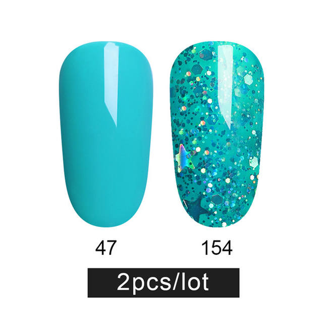 LILYCUTE 2Pcs Sequins Nail Acrylic Glue Shiny Glitter UV Gel
