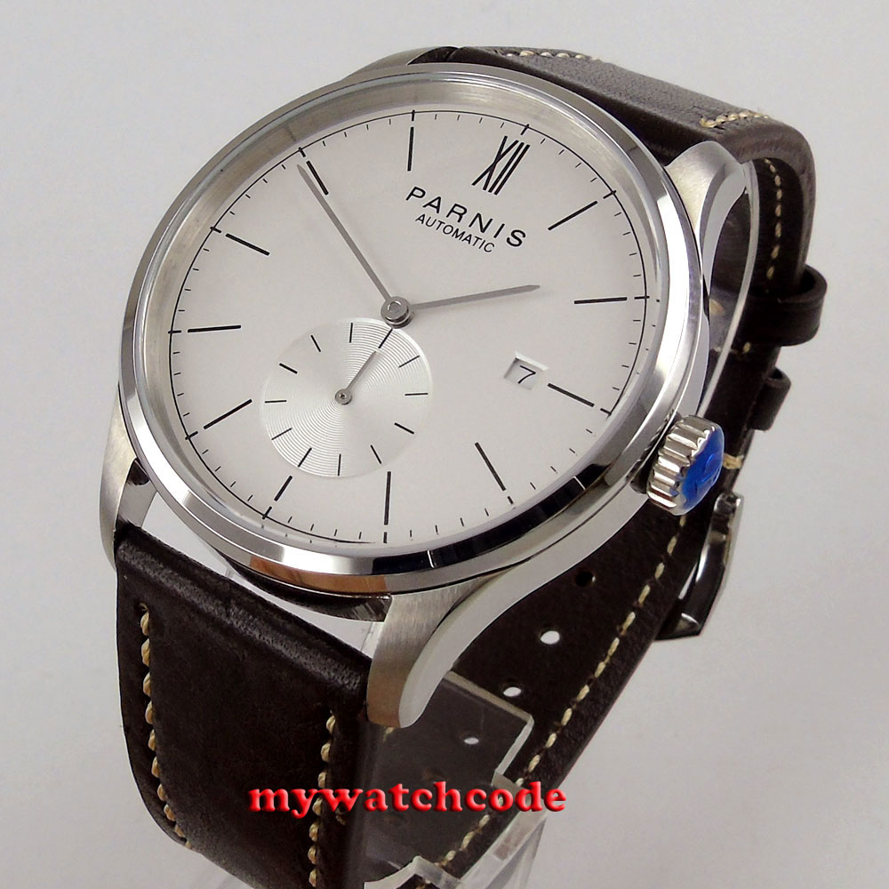 new 42mm parnis white dial date window ST1731 automatic mens watch P955B цена и фото