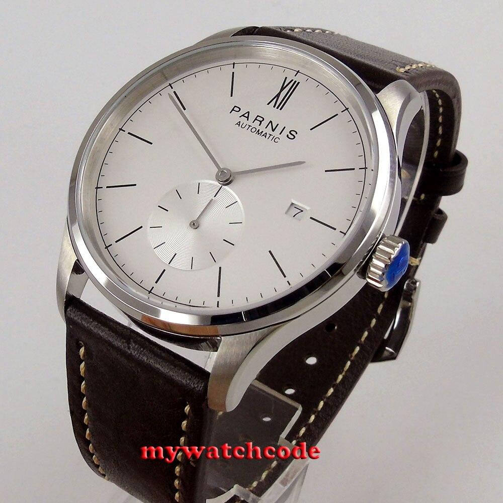 лучшая цена new 42mm parnis white dial date window ST1731 automatic mens watch P955B