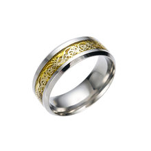 QIANBEI Gold&Silver Celtic Dragon Carbon Fiber 316L Stainless Steel Men Women Silver Ring Band Wedding Engagement Gift free(China)