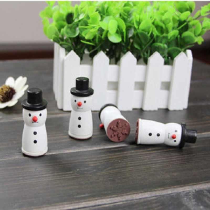 4 דפוסים לבן חורף שלג פתית שלג עיצוב עץ חותמת רעיונות DIY תחביב קישוט