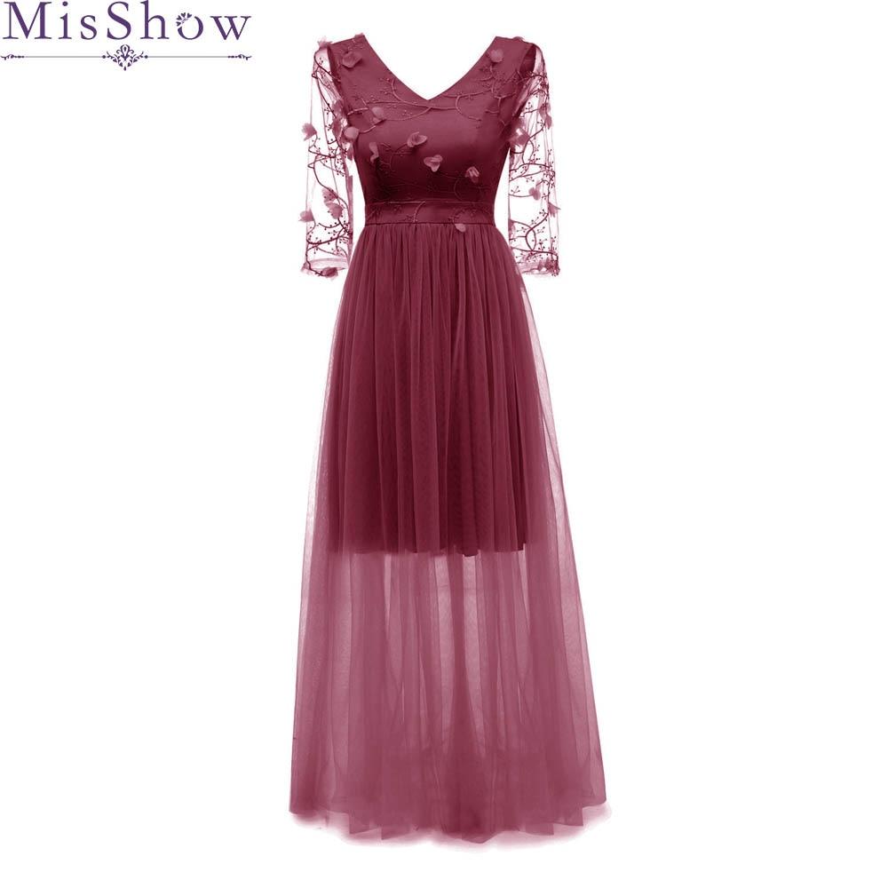 Elegant   Evening     Dress   Long 2019 Stunning burgundy Party   Dresses   3D Flower 3/4 Sleeve A-Line Prom   Dress   robe de soiree