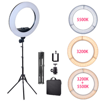 Dimmable 14in LED Ring Light Bi color 3200K 5500K Ring Lamp for photography lighting Makeup YouTube Cameras Photo Accessories