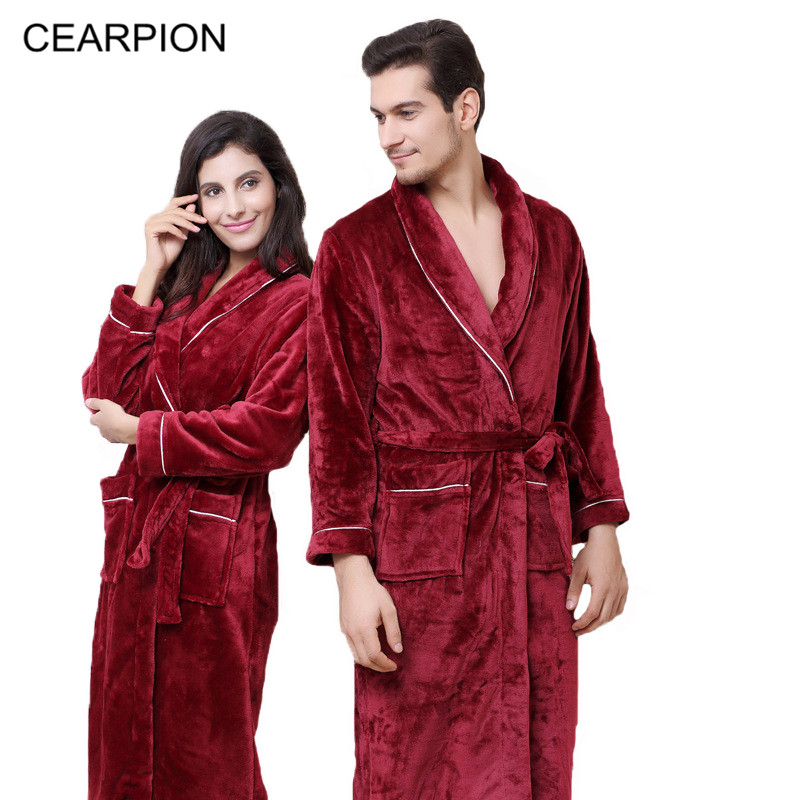CEARPION Arrival New Winter Warm Lovers Robe Casual Sleepwear Men&Women SPA Home Clothes Solid Long Sleeve Kimono Bathrobe Gown