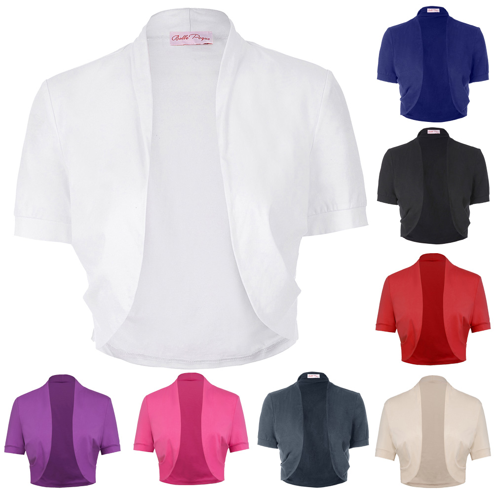 Women Ladies tops Short Sleeve solid color Pleated Sides Cotton Shrug Bolero for wedding party elegant Women Ladies tops Short Sleeve solid color Pleated Sides Cotton Shrug Bolero for wedding party elegant half shrug white black