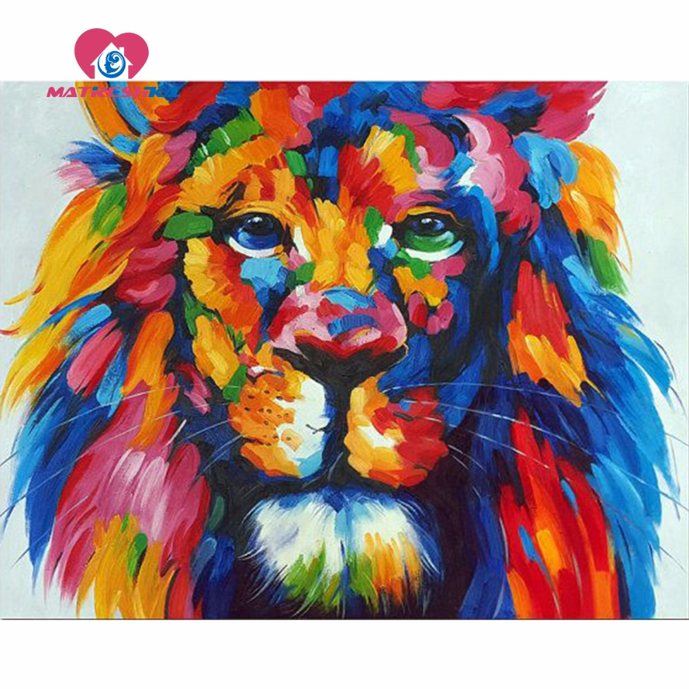 Diamond embroidery animals color lion Pictures of rhinestones full figuration Diamond mosaic full display 5d rhinestone art diy