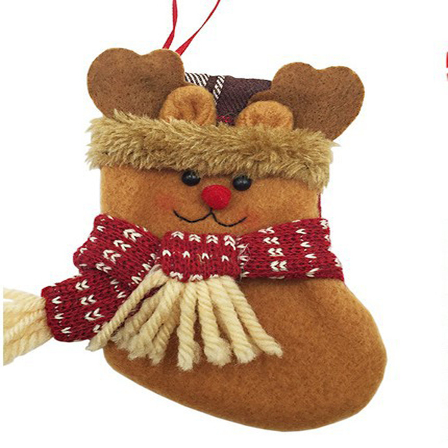 lovely small christmas socks decoration hanging christmas stockings decoration gift candy cookies bags gift holders containers