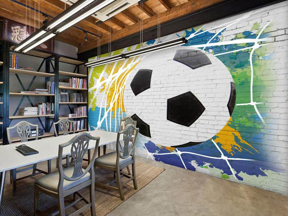 Custom Papel DE Parede Infantil, Football Broke Brick Pattern 3D Cartoon  Murals For Bedroom Childrenu0027s Room Wall Wallpaper In Wallpapers From Home  ...