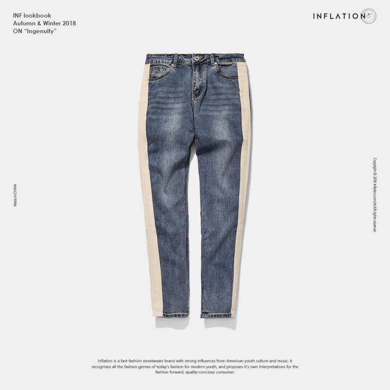 Инфляции обтягивающие джинсы Для мужчин хип-хоп в полоску рваные эластичные джинсы слим мужские эластичные штаны Street джинсовые байкерские ...