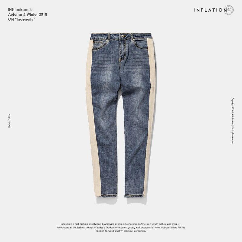 INFLATION Dünne Jeans Männer Hip Hop Streifen Zerrissene Elastische Slim Fit Jeans Männlichen Stretchy Hosen Straße Denim Biker Jeans 8883 watt