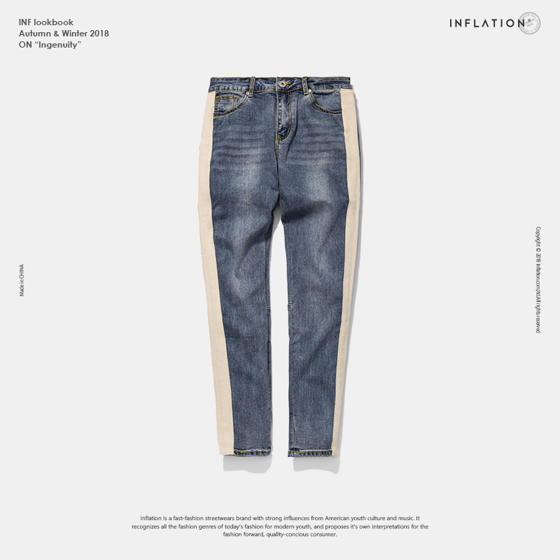 Inflation Skinny Jeans Men Hip Hop Stripe Ripped Elastic Slim Fit Jeans Male Stretchy Pants Street Denim Biker Jeans 8883w