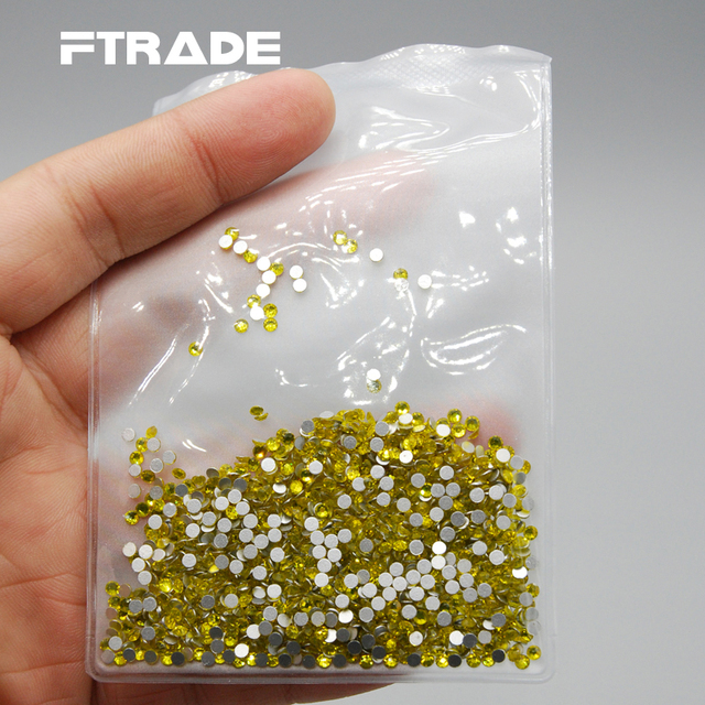 High Quality Crystal SS3-SS30 Citrine Color 3D Nail Art non-hotfix Glue On rhinestone  glue on flatback Glass rhinestones. 0a54ae96393a