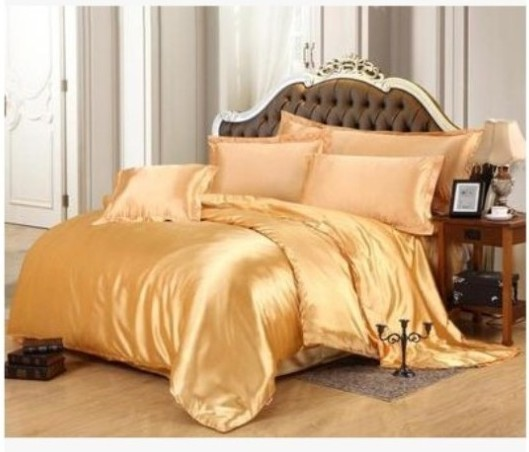 Gold Silk Bedding Set Satin California King Size Queen Full Twin Double  Quilt Duvet Cover Fitted Bed Sheet Bedspreads Doona 5pcs